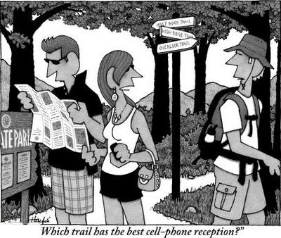 nature cell phone access cartoon